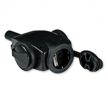 Priključnica prenosna trostruka 3x16A 250V~ sa kontaktom za uzemljenje, crna, gumena