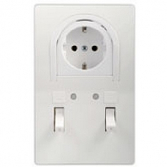 Bathroom switch with indicator with socket-outlet