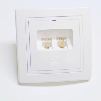 Telefonska priključnica dvostruka RJ 12 6/4 sa dve spojene linije-belo