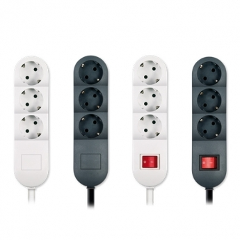 Portable 2 way socket outlet threefold, max 3600W